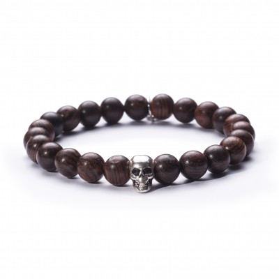 8mm Red Sandalwood | 925 Silver Skull |