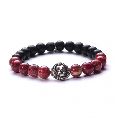 8mm Red Variscite and Onyx | 925 Sterling Silver Lion Charm |