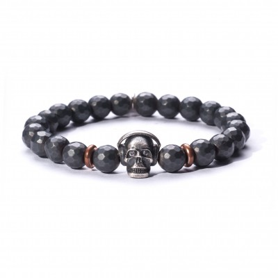 8mm Hematite | 925 Sterling Silver Skull with Rose Gold Separators |