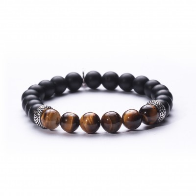 8mm Yellow Tiger Eye and Onyx | 925 Sterling Silver Separators |