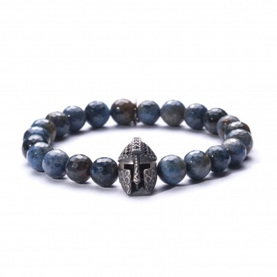 8mm Sodalite | 925 Sterling Silver Knight Charm Encrusted with Blue and Black Swarovski Elements |