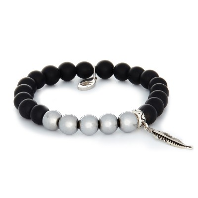 8MM SILVER COPPER BALLS AND MATTE ONYX | 925 STERLING SILVER FEATHER CHARM