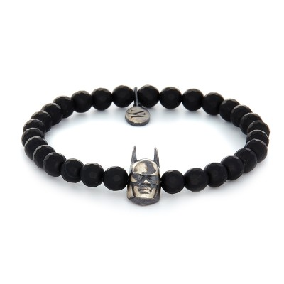 6MM BLACK HEMATITE | 925 STERLING SILVER BATMAN CHARM