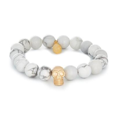 10MM WHITE HOWLITE | 925 STERLING SILVER GOLD SKULL CHARM
