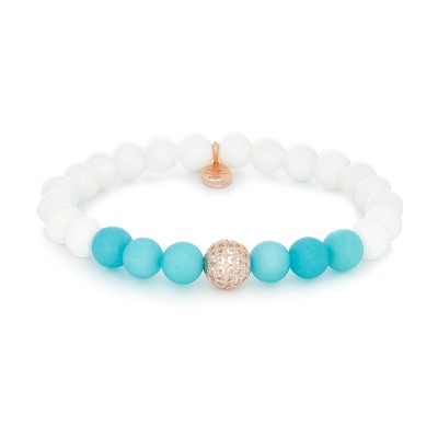 8MM MATTE TURQUOISE AND POLISHED WHITE CHALCEDONY | 925 STERLING SILVER GOLD SWAROVSKI BALL