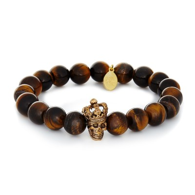 10MM YELLOW TIGER EYE | 925 STERLING SILVER SKULL AND CROWN CHARM