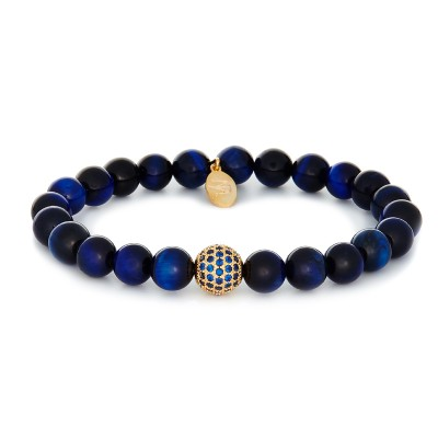 8MM BLUE TIGER EYE | 925 STERLING SILVER GOLD SWAROVSKI BALL