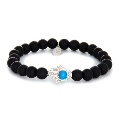 8MM MATTE ONYX | 925 STERLING SILVER HAND OF FATHIMA CHARM AND BLUE CAT EYE STONE