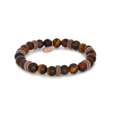 8MM MIXED TIGER EYE | ROSE GOLD SWAROVSKI SEPARATORS