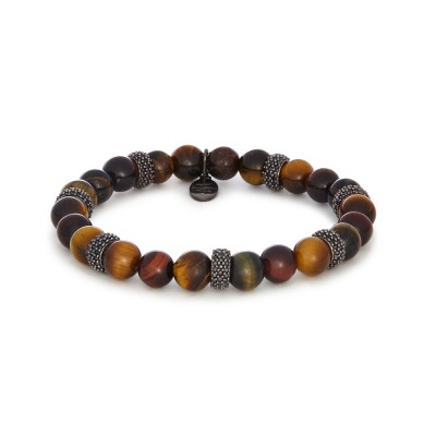 8MM MIXED TIGER EYE | GUN METAL SWAROVSKI SEPARATORS
