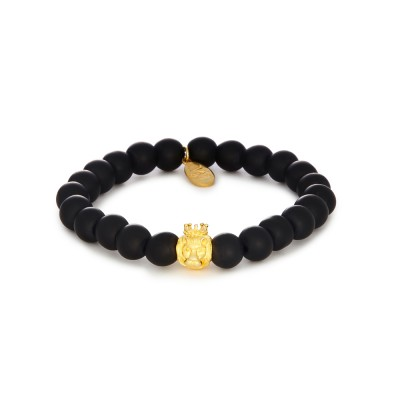 8MM MATTE ONYX | 925 STERLING SILVER GOLD LION CHARM
