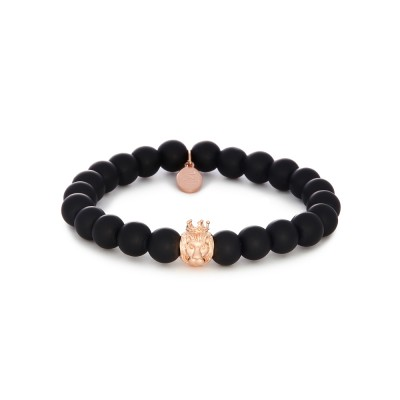 8MM MATTE ONYX | 925 STERLING SILVER ROSE GOLD LION CHARM